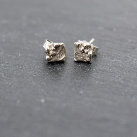 Ripple Square Pebble Stud Earrings