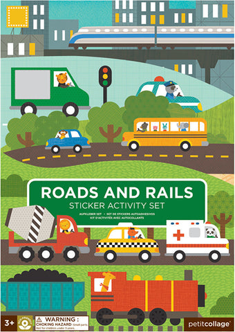 petit collage roads and rails sticker activity set