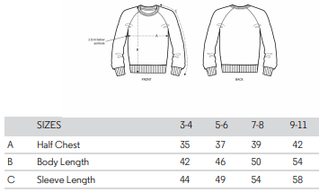 kids sweatshirt size guide