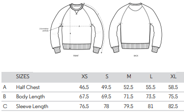 Adults sweatshirt size guide