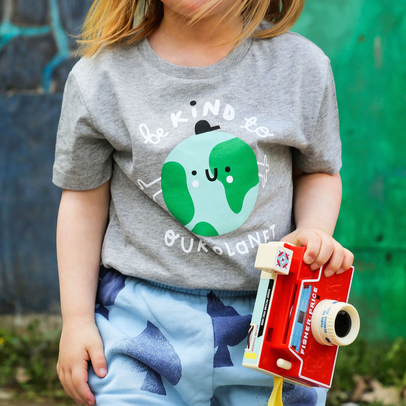 Kids Earth Short Sleeve T-shirt - Grey - The Kindness Co-Op Children's Clothing & Gifts