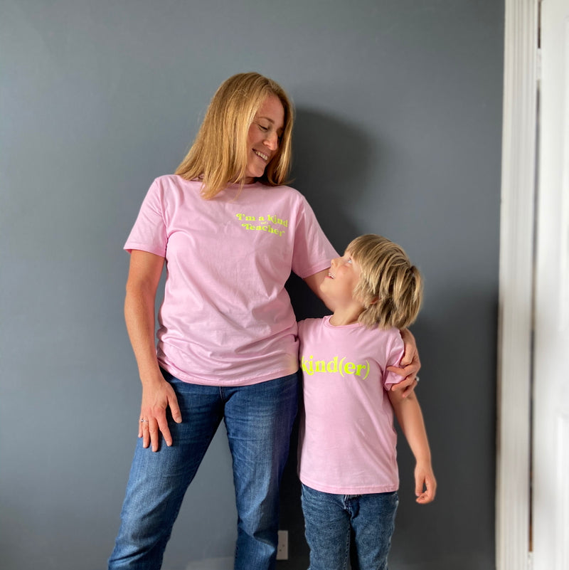 Adults I'm a kind (of) Teacher T-shirt - Pink/Neon Yellow
