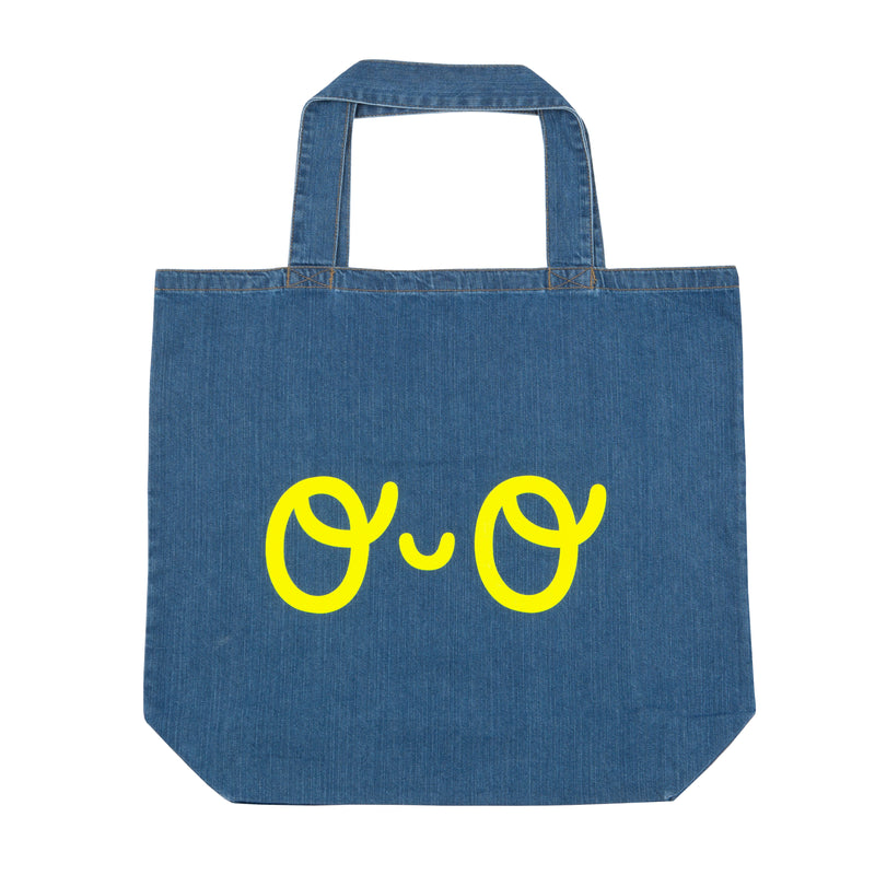 Large Organic Denim Shopper Eyes Bag - Neon Yellow - The Kindness Co-Op Children's Clothing & Gifts