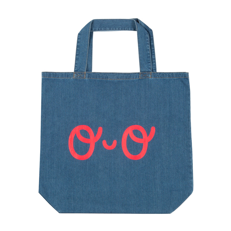 Large Organic Denim Shopper Eyes Bag - Neon Red - The Kindness Co-Op Children's Clothing & Gifts