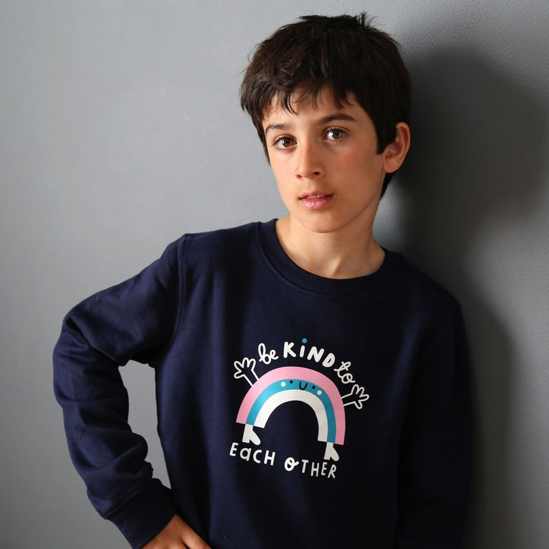Kids Rainbow Sweatshirt - Navy - The Kindness Co-Op Children's Clothing & Gifts