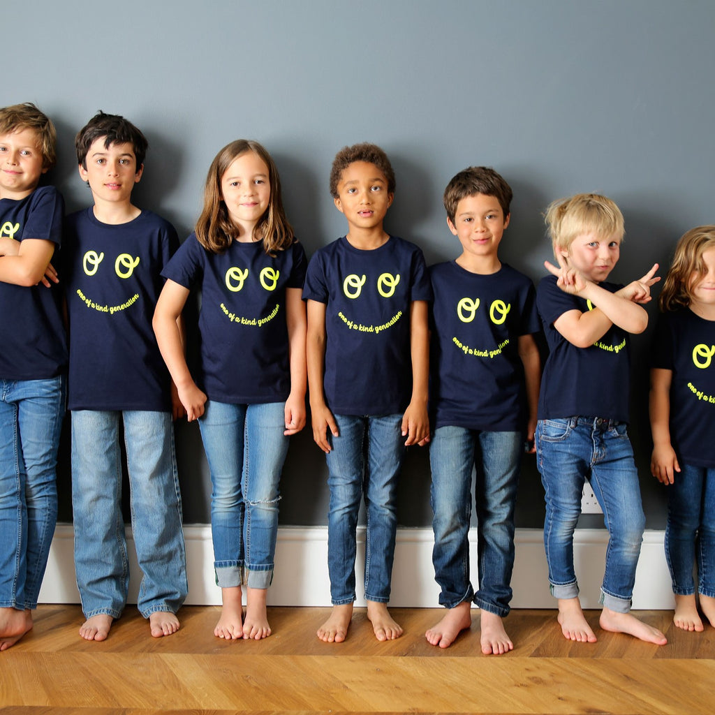 Kids Neon Eyes T-shirt - Navy - The Kindness Co-Op Children's Clothing & Gifts