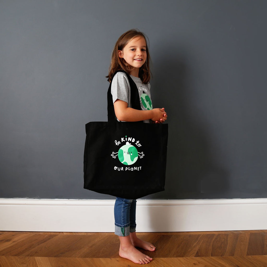 Black Canvas Earth Tote Bag - The Kindness Co-Op Children's Clothing & Gifts