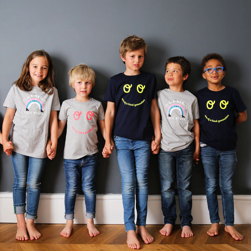 Kids Rainbow Short Sleeve T-shirt - Grey - The Kindness Co-Op Children's Clothing & Gifts
