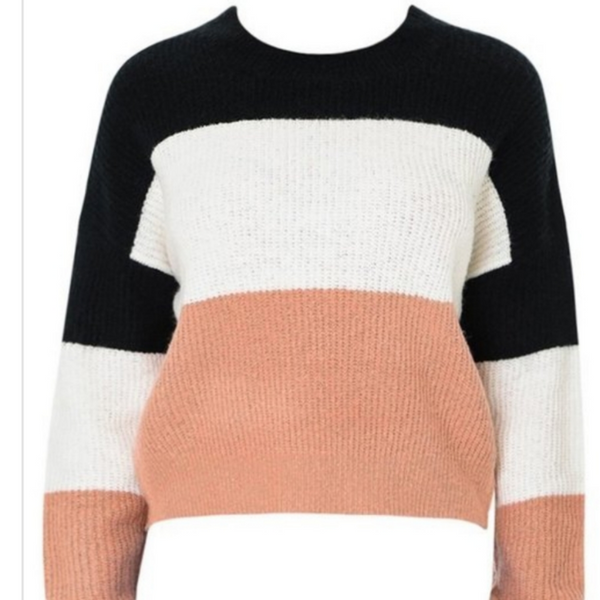 Blush Color Block Sweater - Boutique121