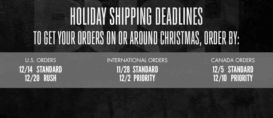 Shipping Deadlines for Official BUSH Store