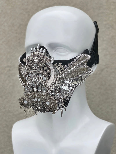 SILVER SCARAB face mask - Who Cares Why Not