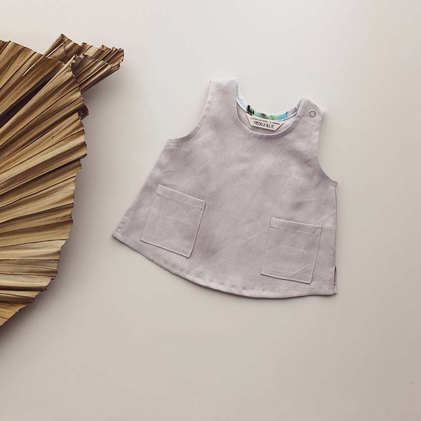 Avery Girls Linen Tank | Cloud Dusk