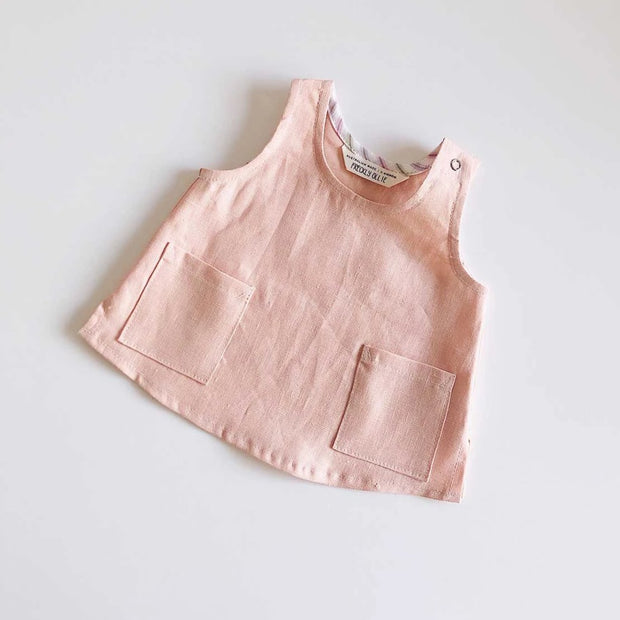 Avery Girls Linen Tank | Peach