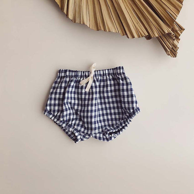 Blair Unisex Linen Shorties | Navy Gingham