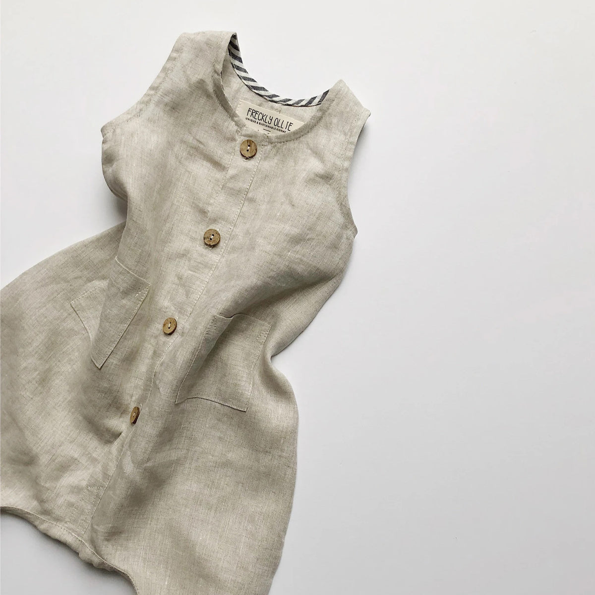 Riley Unisex Linen Overall | Stone