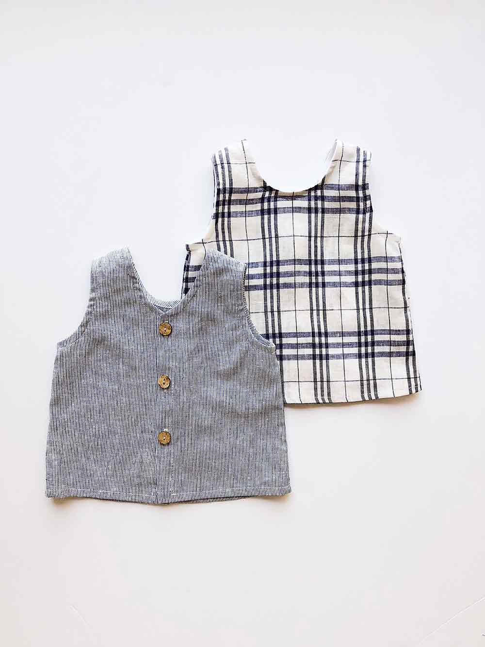 Baby toddler linen reversible vest in blue check placket opening coconut buttons