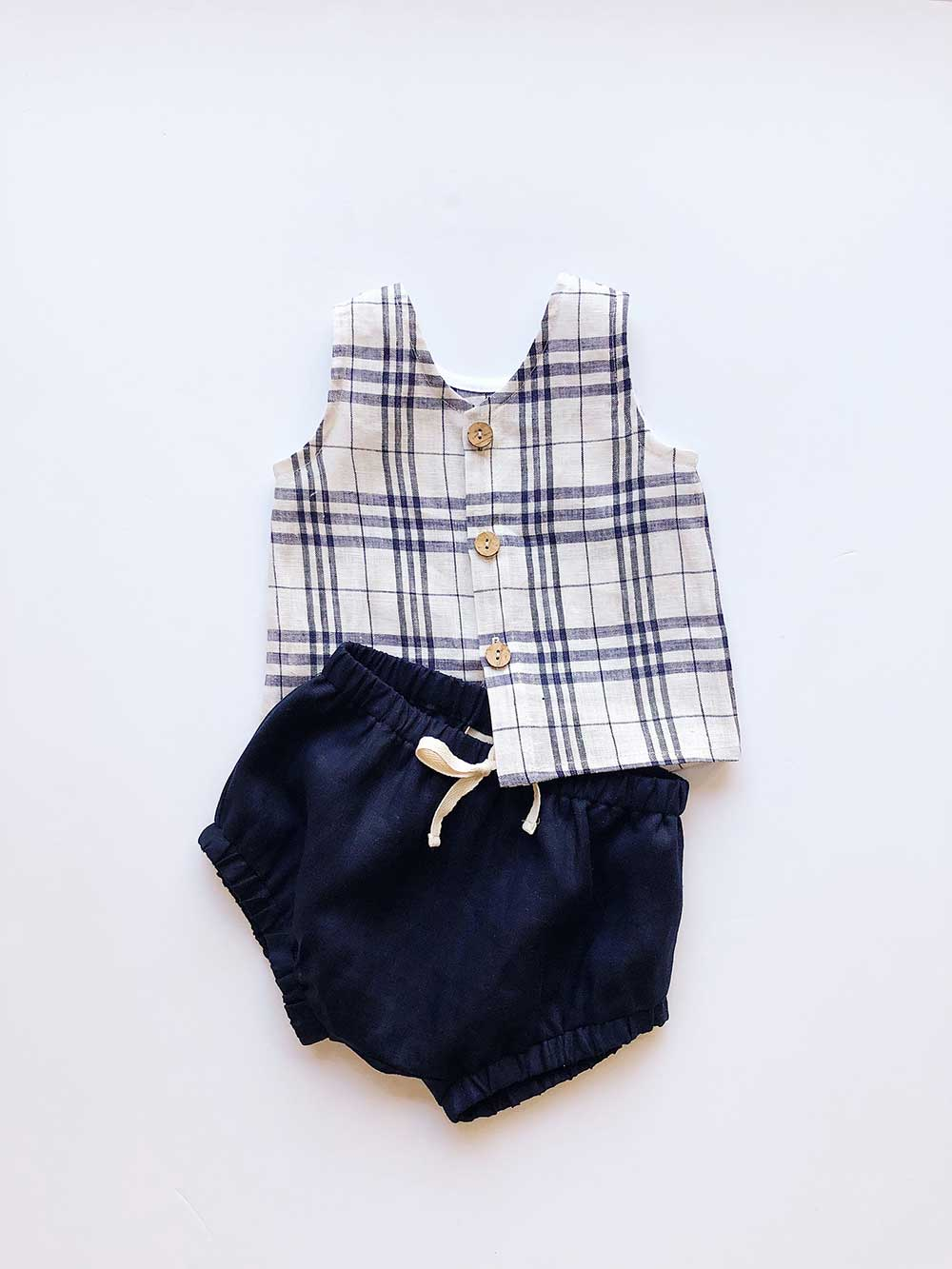 Baby toddler linen reversible tank top in blue check placket opening coconut buttons