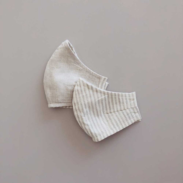 Face Masks 100% Linen Reusable & Reversible | Sand Stripe