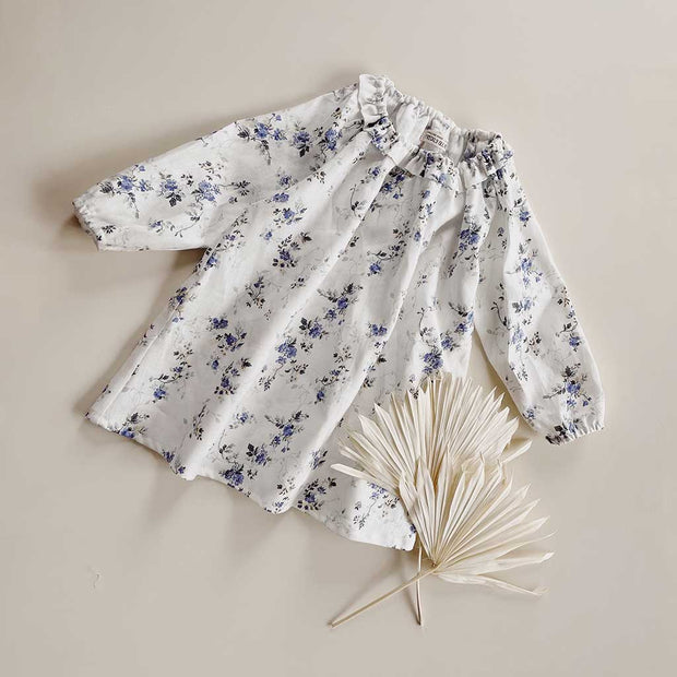Fifi Girls Linen Dress | Blue Vintage Floral