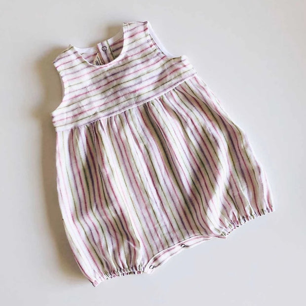 Flynn Girls Linen Romper | Candy Stripe