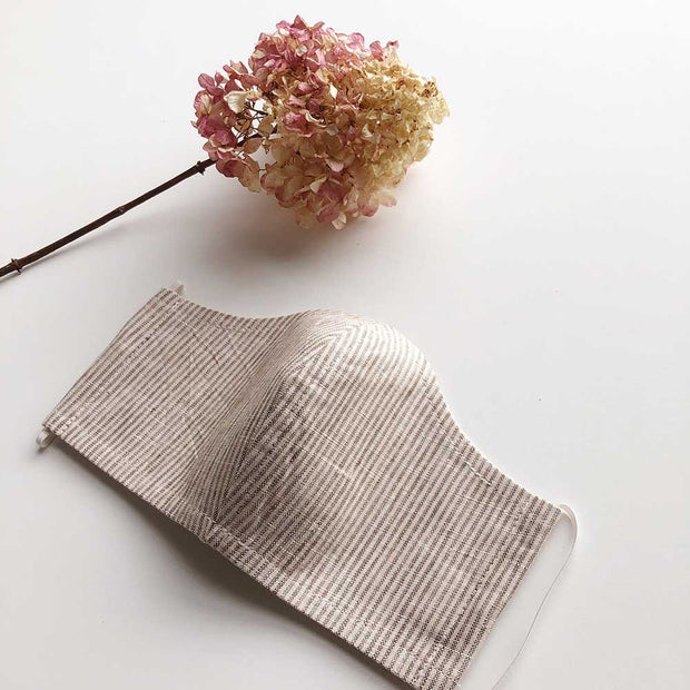 Face Masks 100% Linen Reusable & Reversible | Natural Stripe