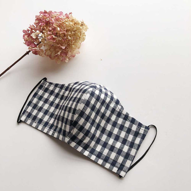Face Masks 100% Linen Reusable & Reversible | Navy Gingham