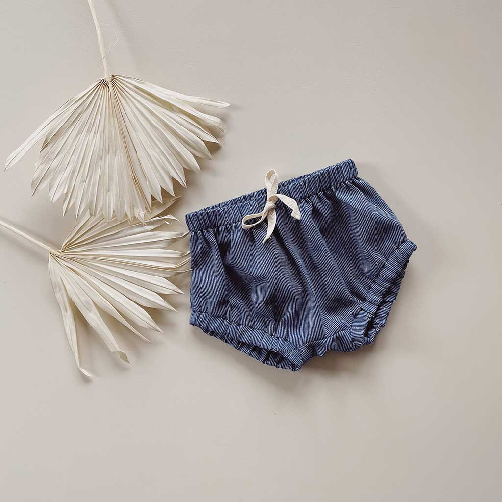 Blair Unisex Shorties | Navy Pinstripe