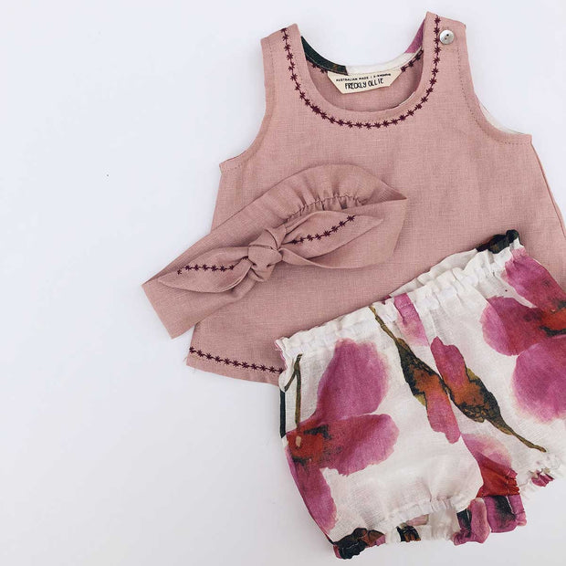 The Rosie Girls Linen Tank and Bloomer Set