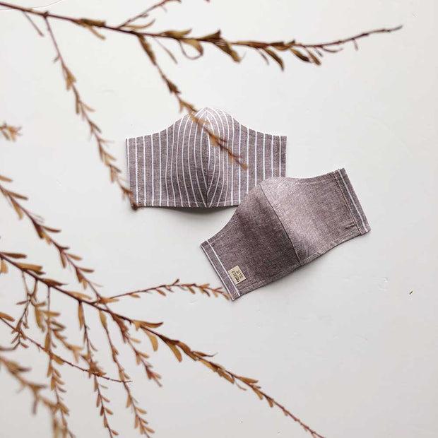 Face Masks Cotton/Linen Reusable & Reversible | Coco Dusk Stripe