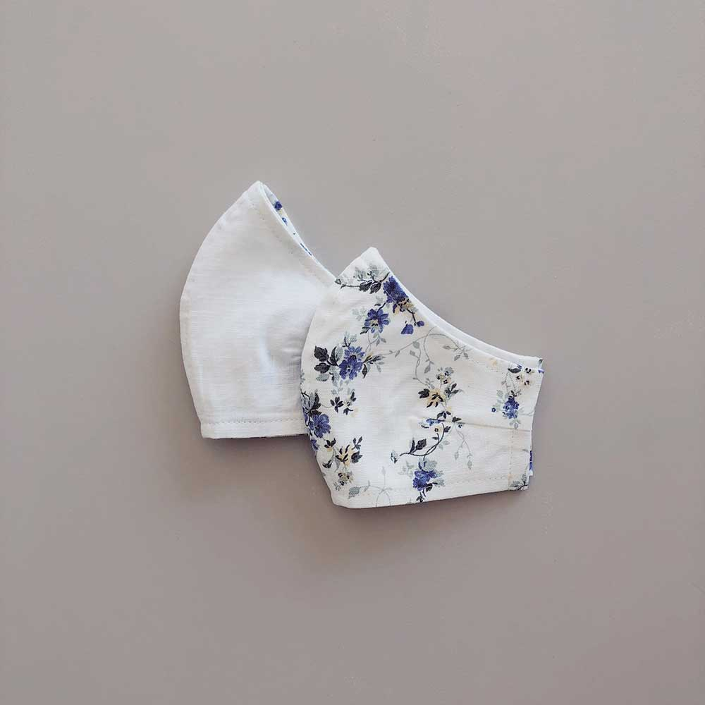 Face Masks Linen/Cotton Reusable & Reversible | Blue Vintage Floral