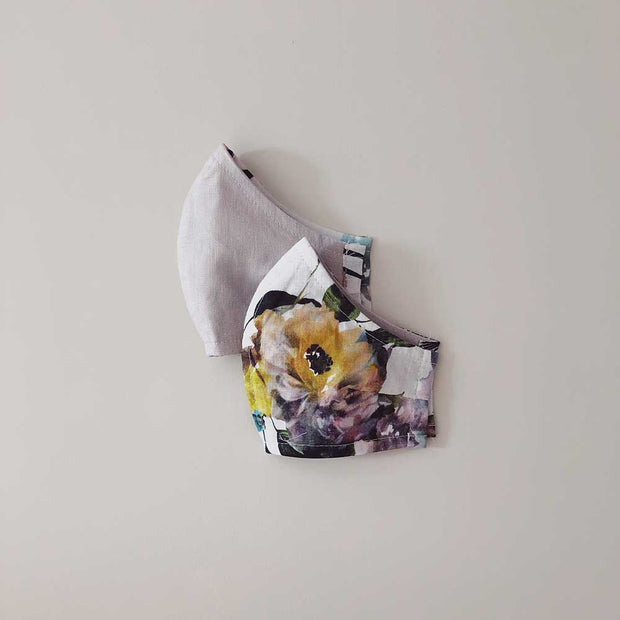 Face Masks 100% Linen Reusable & Reversible | Bouquet Print