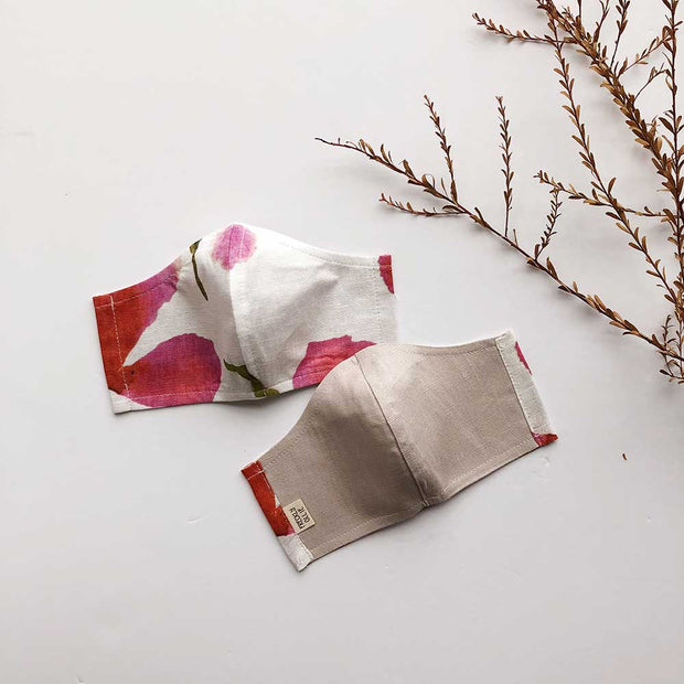 Face Masks 100% Linen Reusable & Reversible | Poppy Print