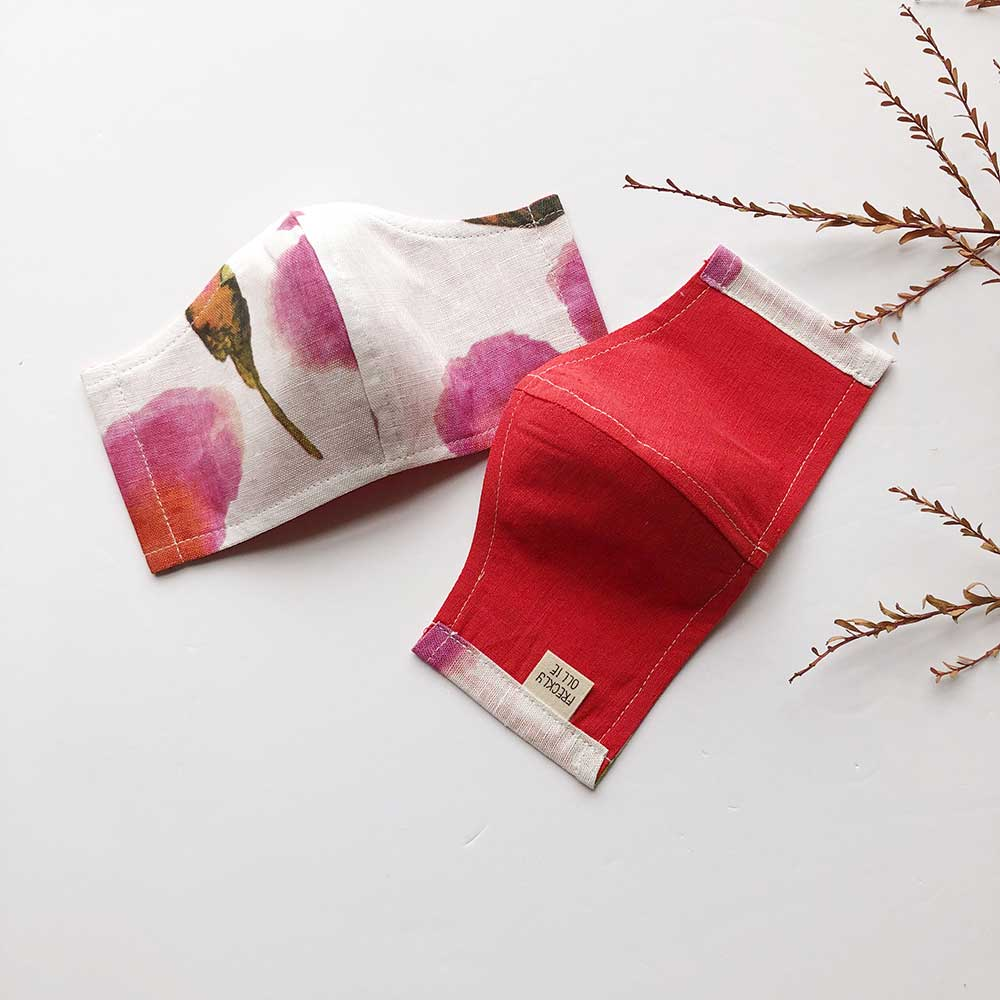 Face Masks Cotton/Linen Reusable & Reversible | Poppy Print