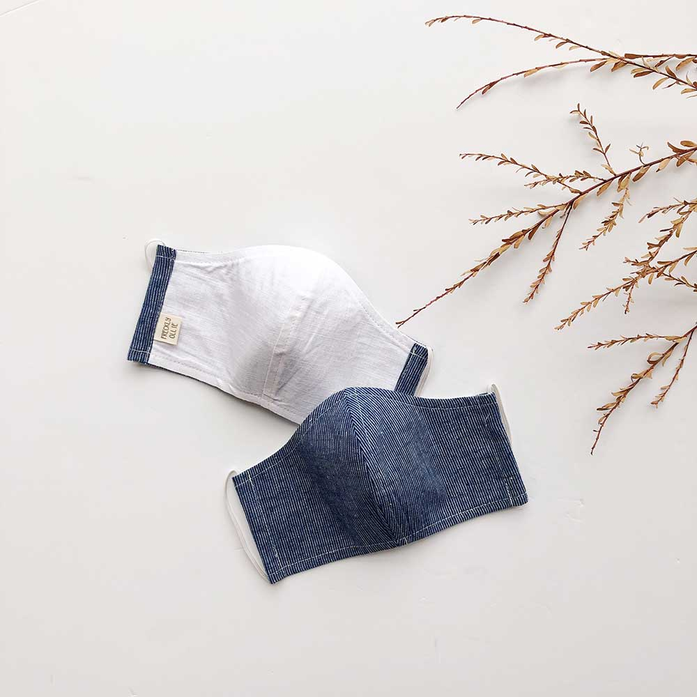 Face Masks Linen & Cotton Reusable & Reversible | Blue Pinstripe