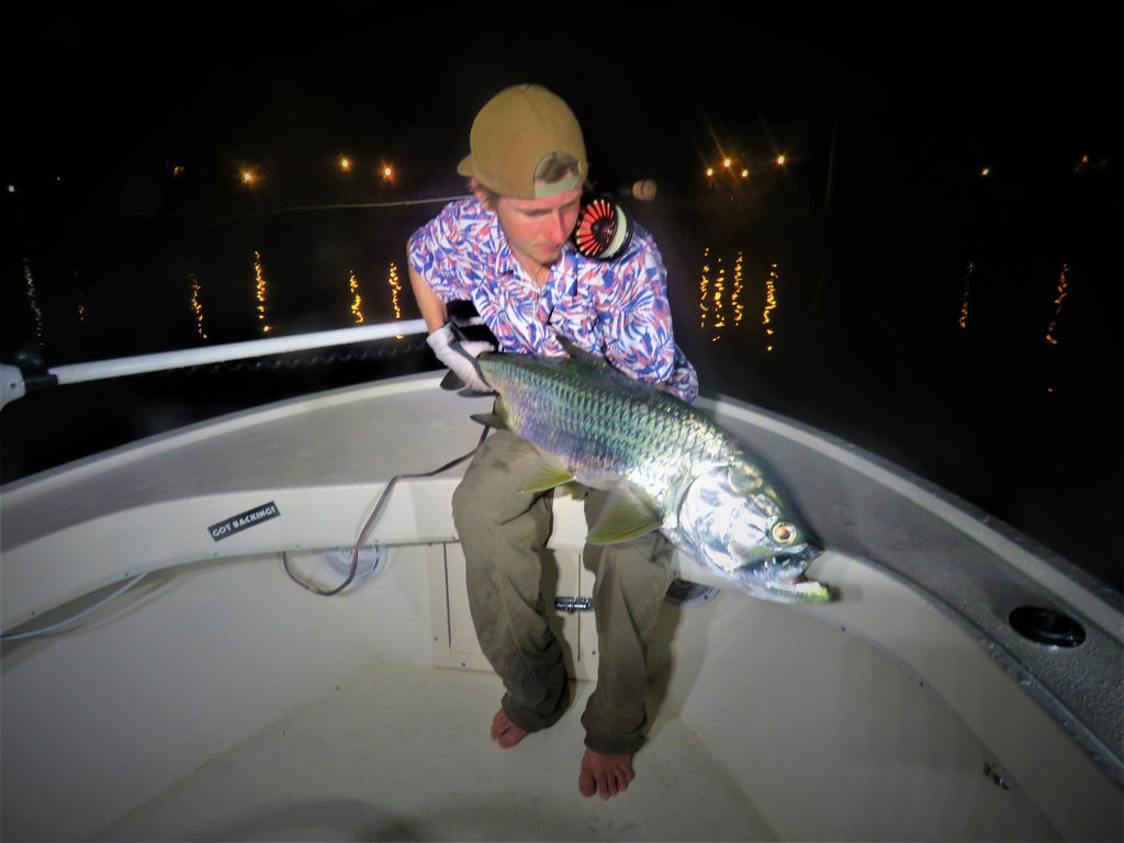 OMG Crazy Miami Baby Tarpon on Fly! - Dock Lights