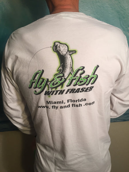 Miami Tarpon Fishing # Fly and Fish with Fraser Fruit of the Loom® ink printed heavy cotton HD™ - long sleeve