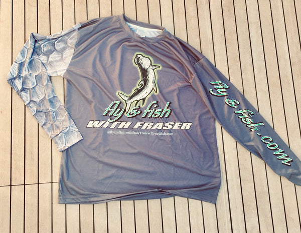 """Only the Flyest"" Dry-Fit Tarpon scale Sleeve, fly and fish with Fraser logo shirt"