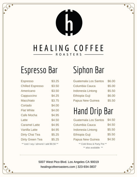 healing coffee roasters cafe menu image