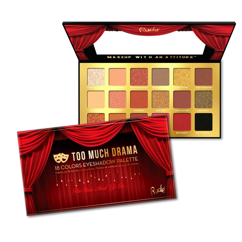 88001 : Rude Cosmetics Too Much Drama 18 Color Eyeshadow Palette Wholesale-Cosmeticholic