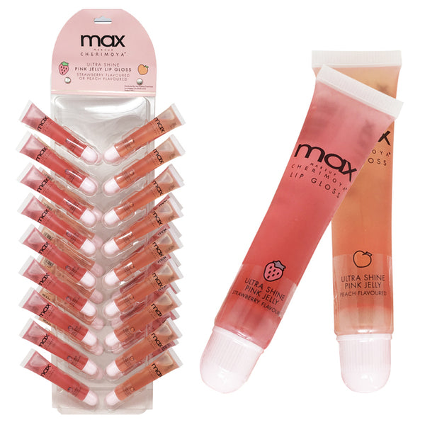 Cherimoya Max Pink Jelly Lip Gloss Strawberry/Peach Wholesale-Cosmeticholic