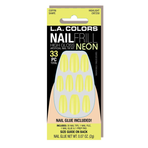 LAC-CNT258~262 : Nail Frill Neon Artificial Nail Tip Kit 3 PC