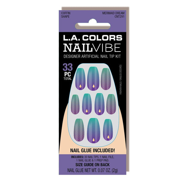 LAC-CNT291 : Nail Vibe Designer Artificial Naip Tip - Mermaid Dream 3 PC