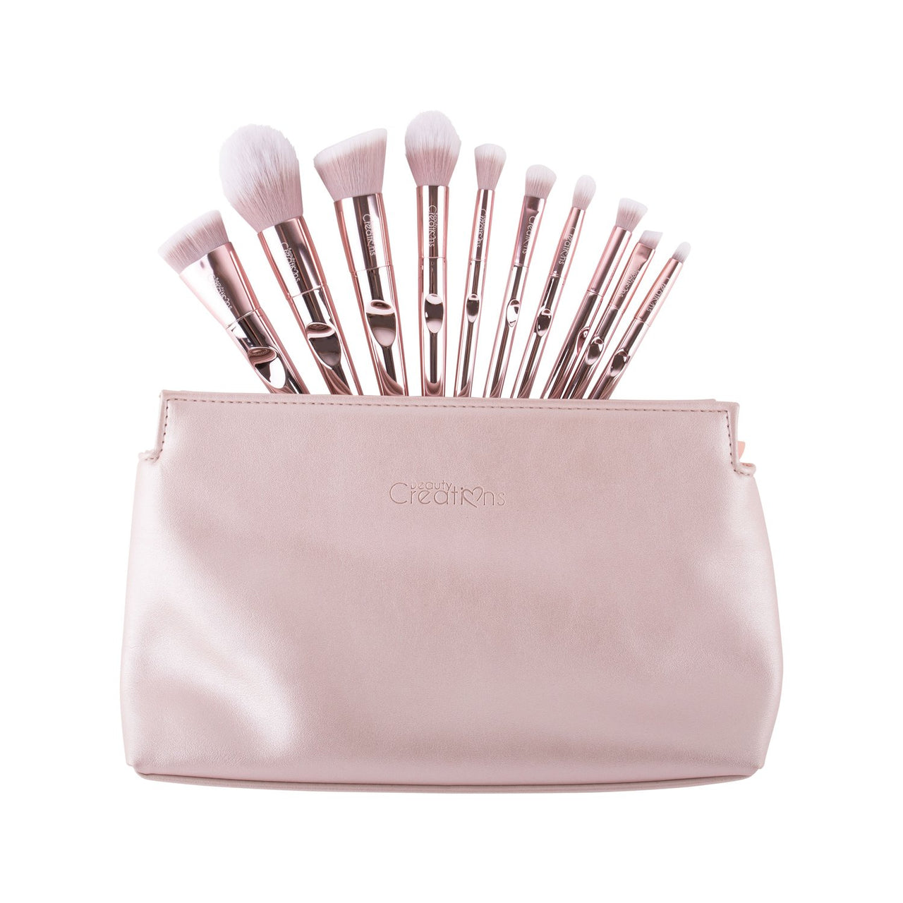 10BCL : Beauty Creations  Floral Bloom Champagne Luxe 10 PC Brush Set Whoelsale-Cosmeticholic