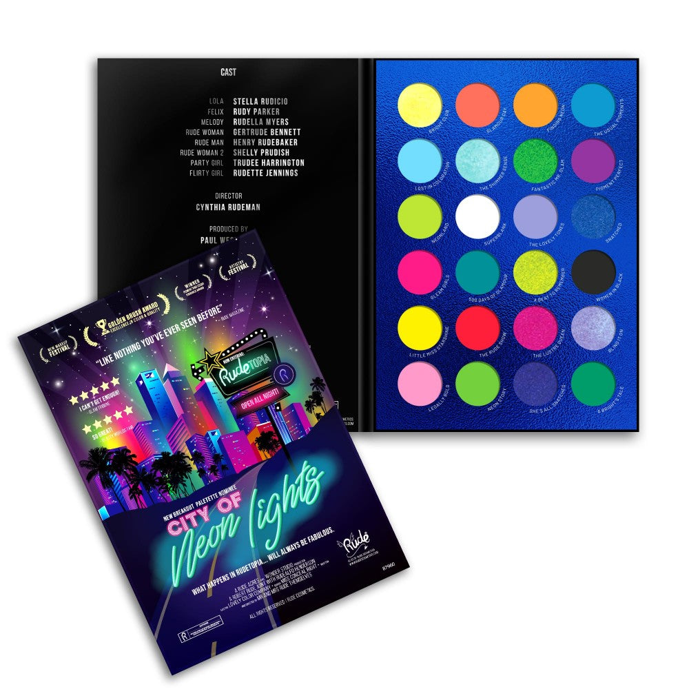Rude Cosmetics 87960 : City of Neon Lights-24 Colors Eyeshadow Palette Wholesale-Cosmeticholic