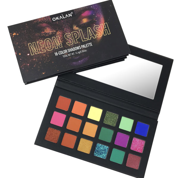 Okalan E016 : Neon Splash 18 Color Shadow Palette Wholesale-Cosmeticholic