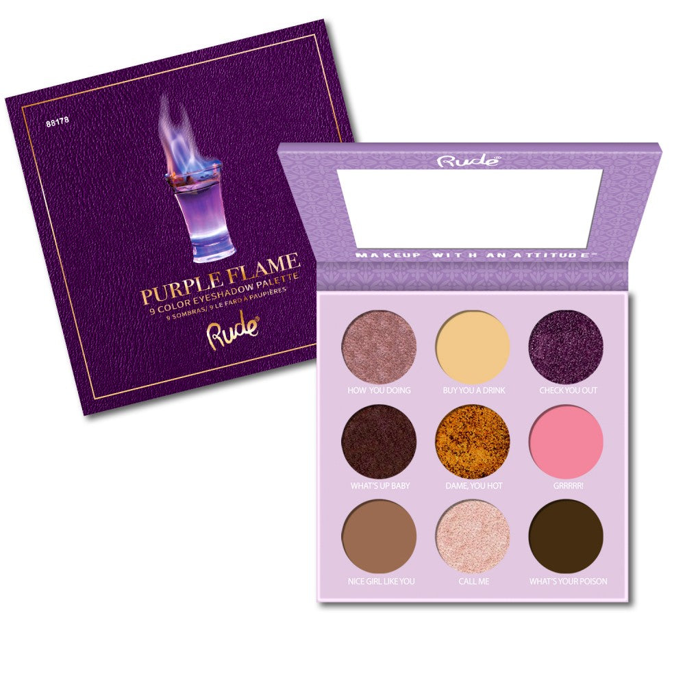 Rude Cosmetics Cocktail Party Purple Flame Eyeshadow Palette Wholesale-Cosmeticholic