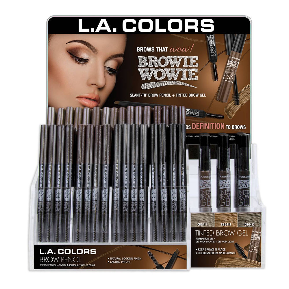 LA COLORS Browie Wowie Brow Pencil and Tinted Brow Gel Display Set Wholesale-Cosmeticholic