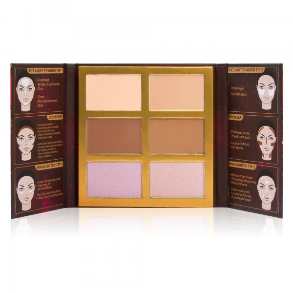 JC-SFO101: Symphony Face Obsession Highlight, Contour & Bronzer Palette 6 PC