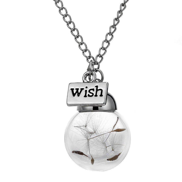 "Elegance Store Necklace ""WISH"" Dandelion Seed ORB Necklace"