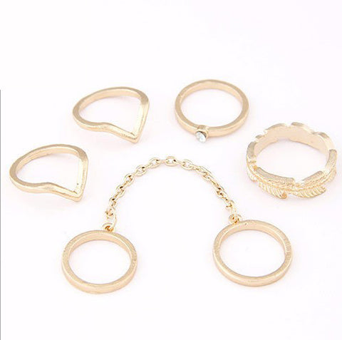 Gold color Retro Flower Rings 6 PCS/Set